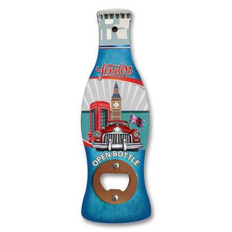 Londra Temalı Myros Ahşap Cola Şişesi Açacak Magnet 200x66 mm
