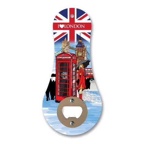 Londra Temalı Myros Ahşap Klasik Açacak Magnet 170x79 mm