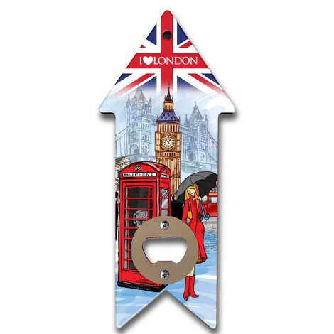 Londra Temalı Myros Ahşap Ok Açacak Magnet 193x82 mm