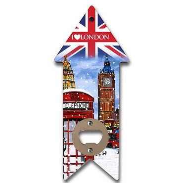 Londra Temalı Myros Ahşap Ok Açacak Magnet 193x82 mm - Thumbnail