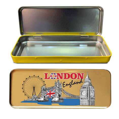 Londra Temalı Myros Metal Kalem Kutusu 210x80x25 mm