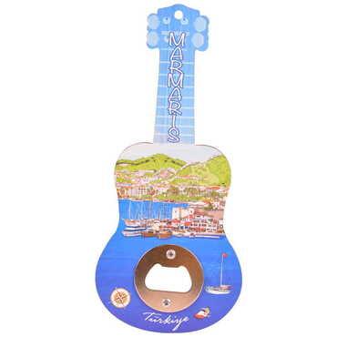 Marmaris Temalı Myros Ahşap Gitar Açacak Magnet 200x89 mm - Thumbnail