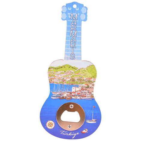 Marmaris Temalı Myros Ahşap Gitar Açacak Magnet 200x89 mm