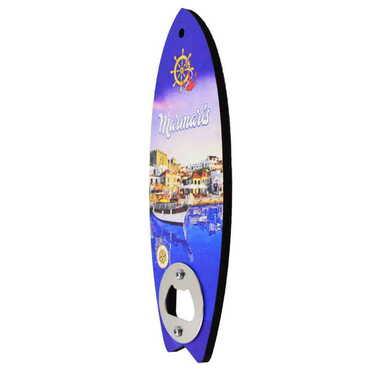Marmaris Temalı Myros Ahşap Sörf Tahtası Açacak Magnet 185x72 mm - Thumbnail