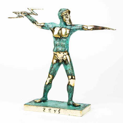 Myros Bronz Heykel Zeus Şimşek 18 cm