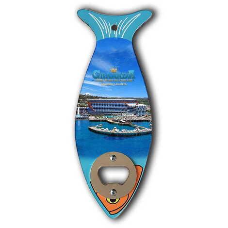 Otel Temalı Ahşap Balık Açacak Magnet 190x70 mm