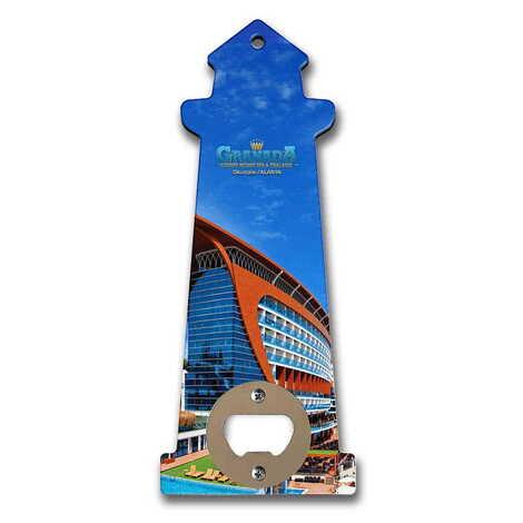 Otel Temalı Myros Ahşap Deniz Feneri Açacak Magnet 188x77 mm