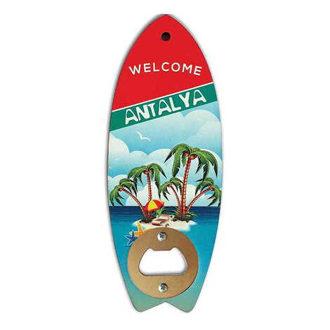 Özelleştirilebilir Myros Ahşap Sörf Tahtası Açacak Magnet 185x72 mm