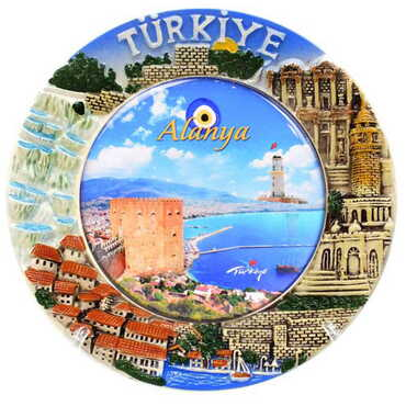 Özelleştirilebilir Seramik Myros Türkiye Tabak 15 cm - Thumbnail