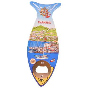 Şehre Özel Ahşap Balık Açacak Magnet 190x70 mm - Thumbnail