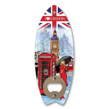Şehre Özel Myros Ahşap Sörf Tahtası Açacak Magnet 185x72 mm - Thumbnail