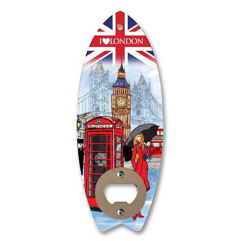 Şehre Özel Myros Ahşap Sörf Tahtası Açacak Magnet 185x72 mm