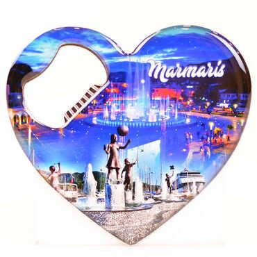 Şehre Özel Myros Metal Kalp Açacak Magnet 85x76 mm - Thumbnail