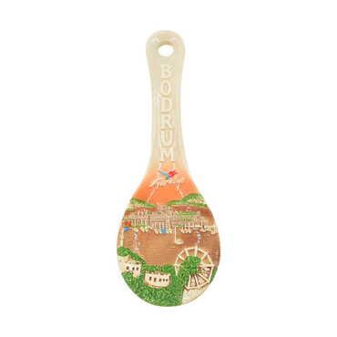 Seramik Belek Kahverengi Kaşık Altlığı 10 cm - Thumbnail