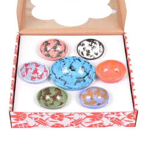 Seramik Dalmaçyalı Kase Yedili Set 13 cm - 8 cm