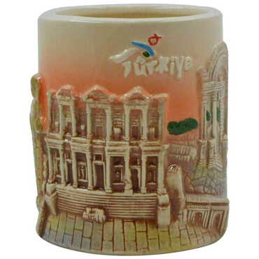 Seramik Efes Kahverengi Kupa - Thumbnail