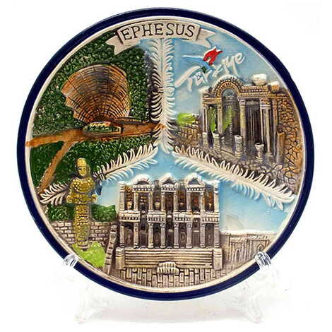 Seramik Efes Mavi Tabak 10 cm