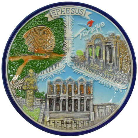 Seramik Efes Mavi Tabak 20 cm