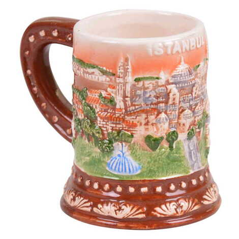 Seramik İstanbul Kabartma Kahverengi Kupa