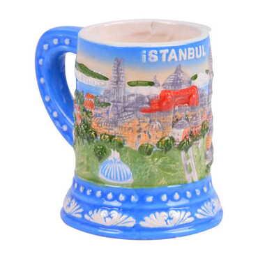 Seramik İstanbul Kabartma Mavi Kupa - Thumbnail