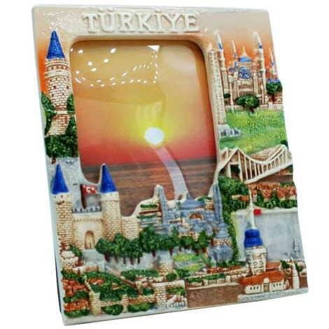 Seramik İstanbul Küçük Mavi Fotoğraf Çerçevesi