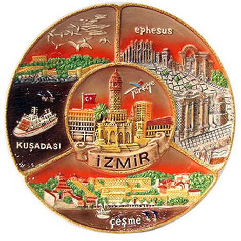 Seramik İzmir Kahverengi Tabak 20 cm