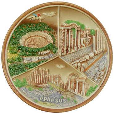 Seramik Kahverengi Efes Tabak 20 cm - Thumbnail