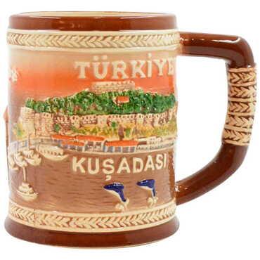 Seramik Kahverengi Kuşadası Kupa - Thumbnail