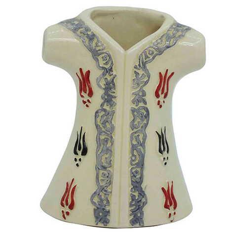 Seramik Lale Desenli Beyaz Kaftan Biblo 10 cm