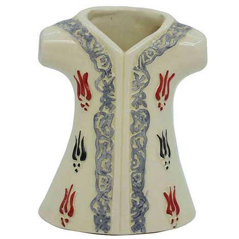 Seramik Lale Desenli Beyaz Kaftan Biblo 16 cm