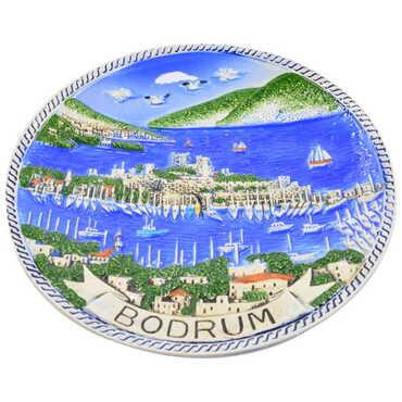 Seramik Mavi Bodrum Tabak 10 cm - Thumbnail