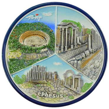 Seramik Mavi Efes Tabak 20 cm - Thumbnail