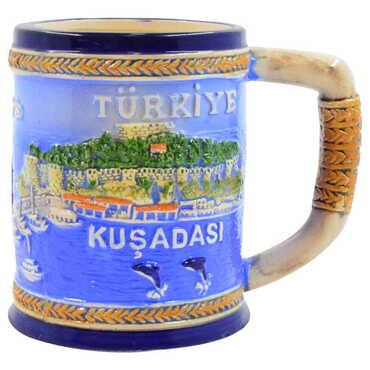 Seramik Mavi Kuşadası Kupa - Thumbnail