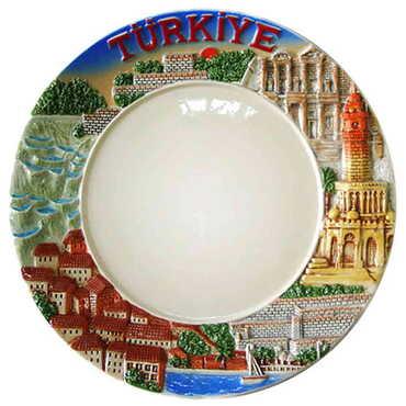 Seramik Myros Ege Mavi Tabak 20 cm - Thumbnail