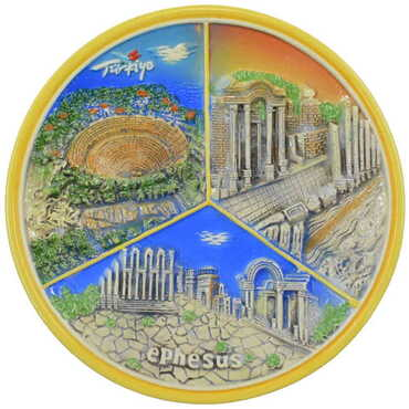 Seramik Turuncu Efes Tabak 20 cm - Thumbnail