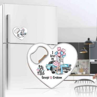 Sevgiliye Özel Myros Metal Kalp Açacak Magnet 85x76 mm - Thumbnail