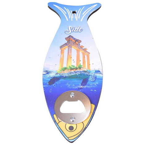 Side Temalı Ahşap Balık Açacak Magnet 190x70 mm