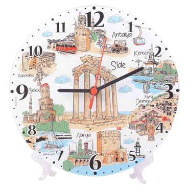 Side Temalı Dekorlu Cam Saat 25 cm - Thumbnail